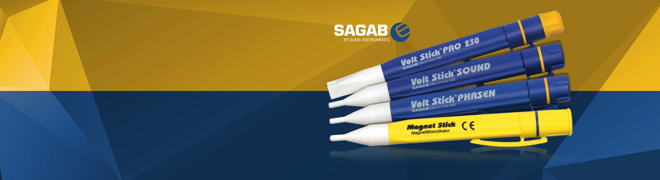 Sagab by Elma was the original inventor of the VoltStick®, <br>and today we offer a wide programme of sticks, like VoltStick®, MagnetStick, VoltStick® Sound and many more... 1